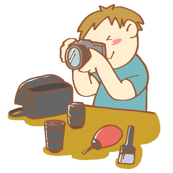 カメラを手入れしている男性のイラスト