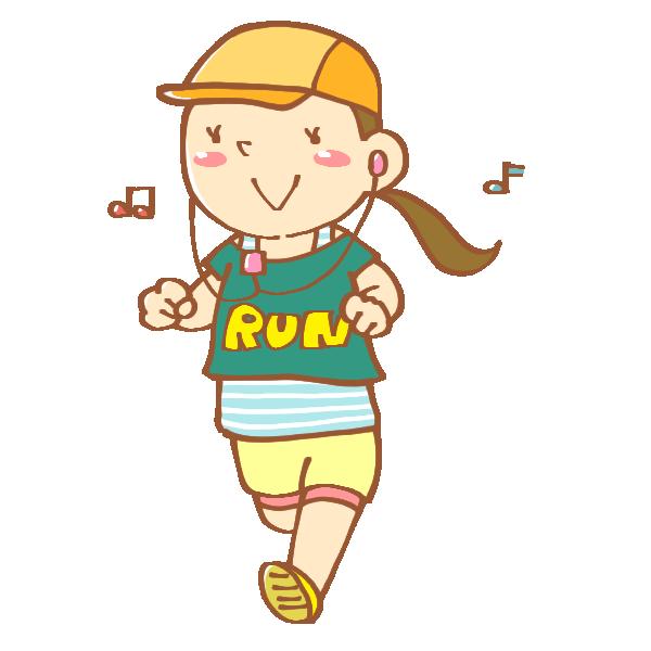 ジョギングをしている女性のイラスト