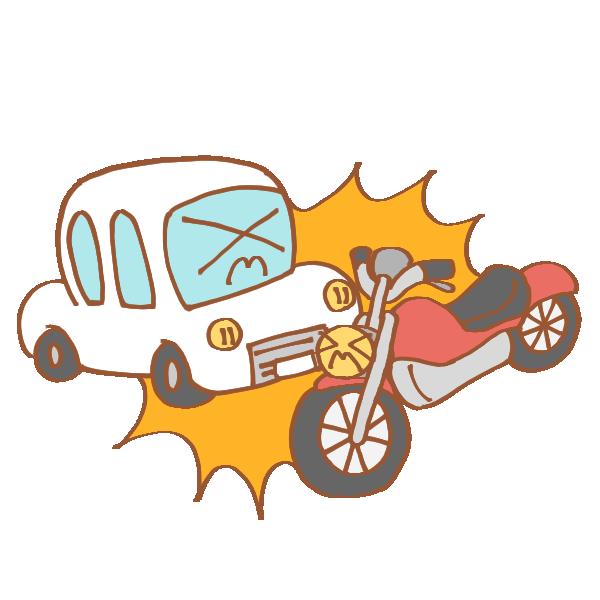 車とバイクの事故のイラスト