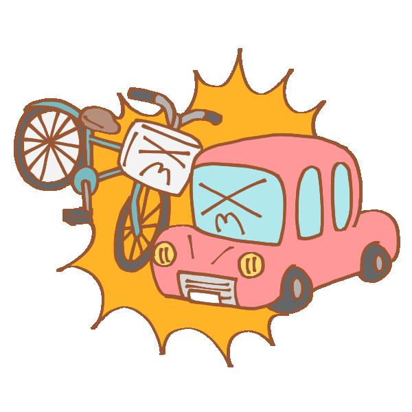 自転車と車の事故のイラスト