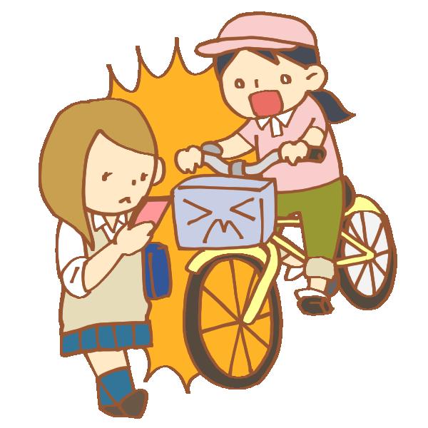 スマホをいじる歩行者と自転車の事故のイラスト