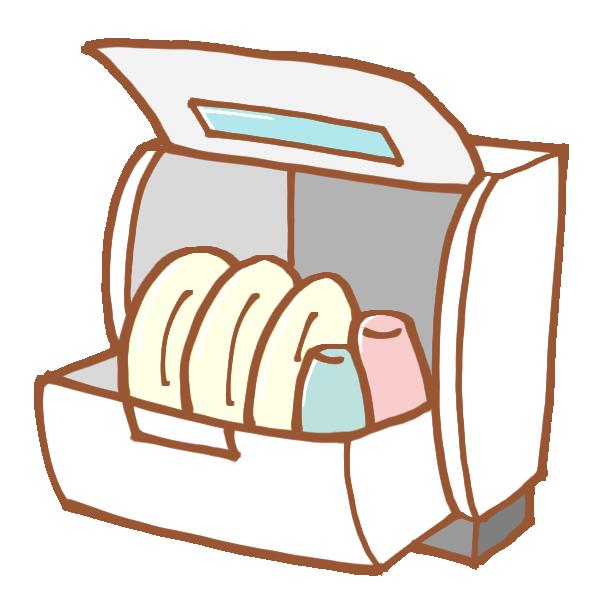 食器が入った食洗器のイラスト