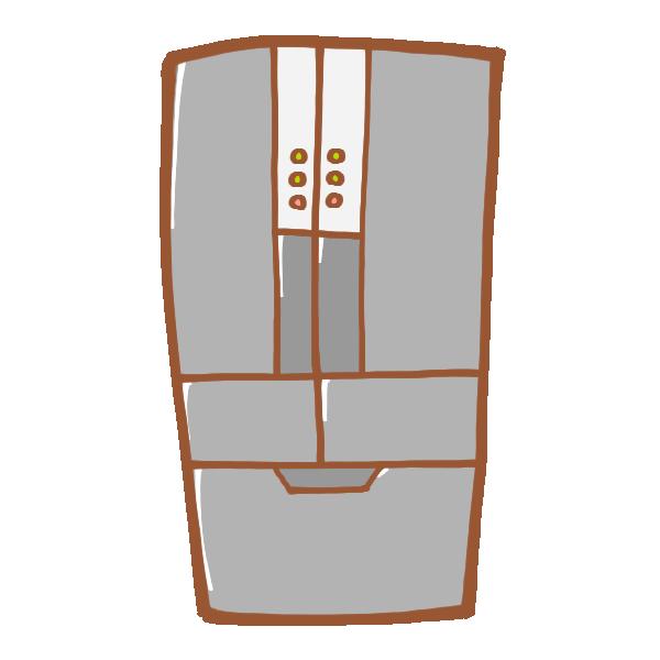 グレーの冷蔵庫のイラスト