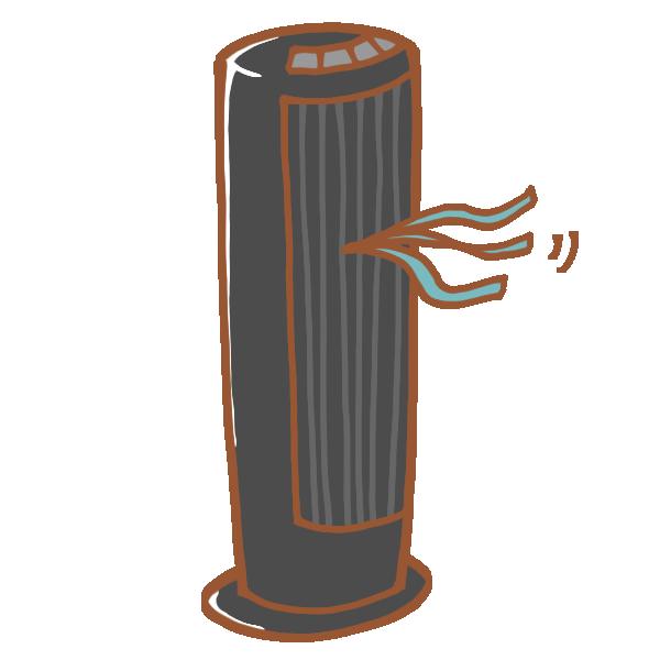 黒い縦型扇風機のイラスト