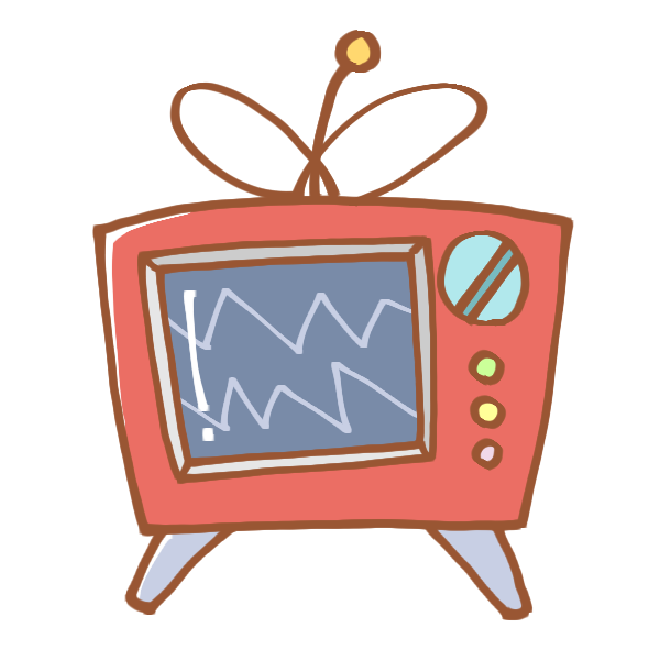 カラフルなブラウン管テレビのイラスト