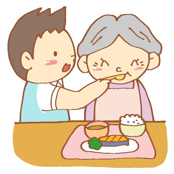 食事介助をする男性介護士のイラスト
