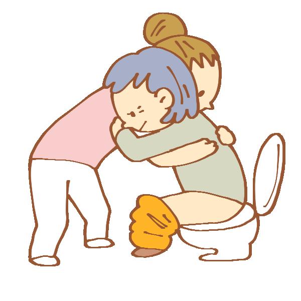 トイレ介助をする女性介護士のイラスト