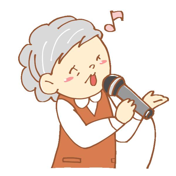 歌うおばあさんのイラスト