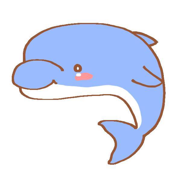 青色のイルカのイラスト