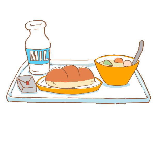 パンの給食のイラスト