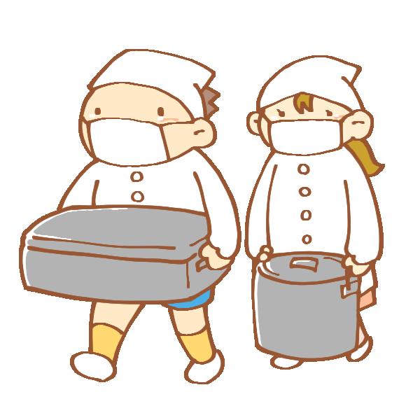 給食を運ぶ男女のイラスト