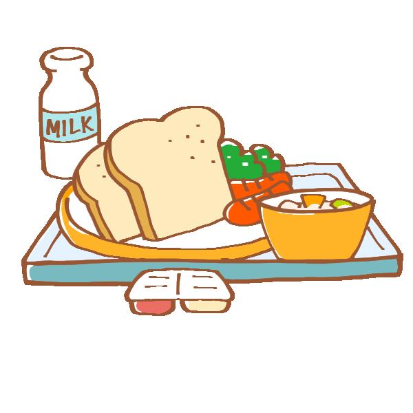 食パンの給食のイラスト