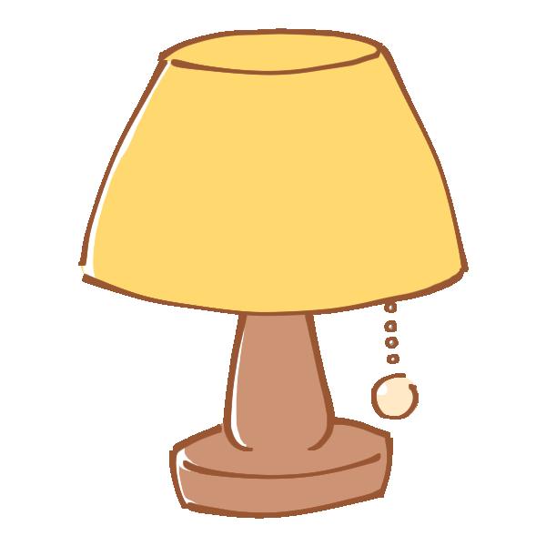 黄色いシェードのランプのイラスト