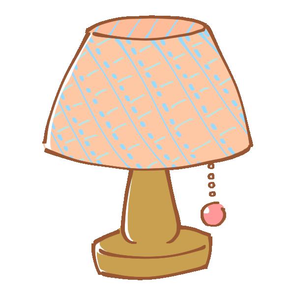 ピンクのチェック柄シェードのランプのイラスト
