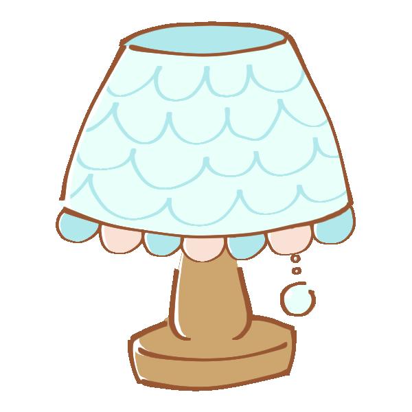 フリルのついたシェードのランプのイラスト