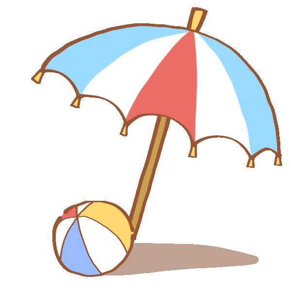 ビーチパラソルとビーチボールのイラスト