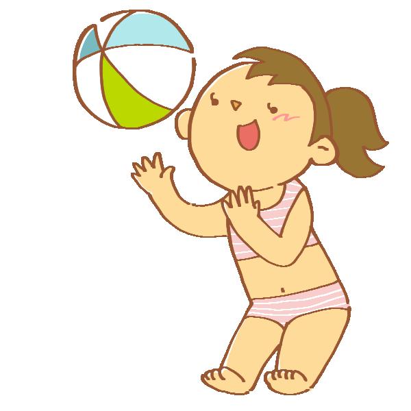 ビーチボールで遊ぶ女性のイラスト