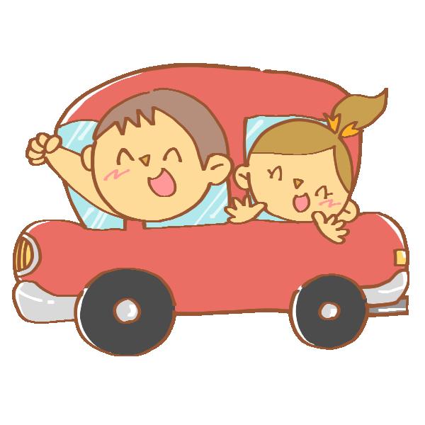 車でお出かけする家族のイラスト