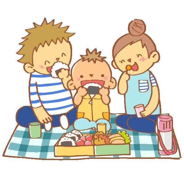 ピクニックでお弁当を食べる家族のイラスト