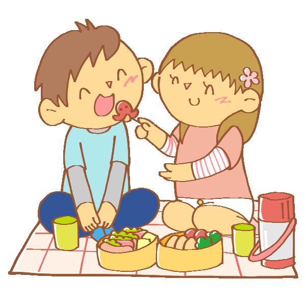 ピクニックでお弁当を食べる男女のイラスト
