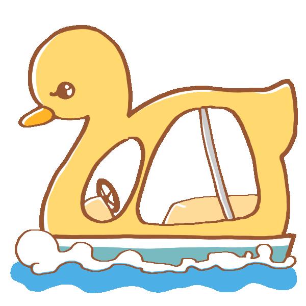 アヒルの足漕ぎボートのイラスト
