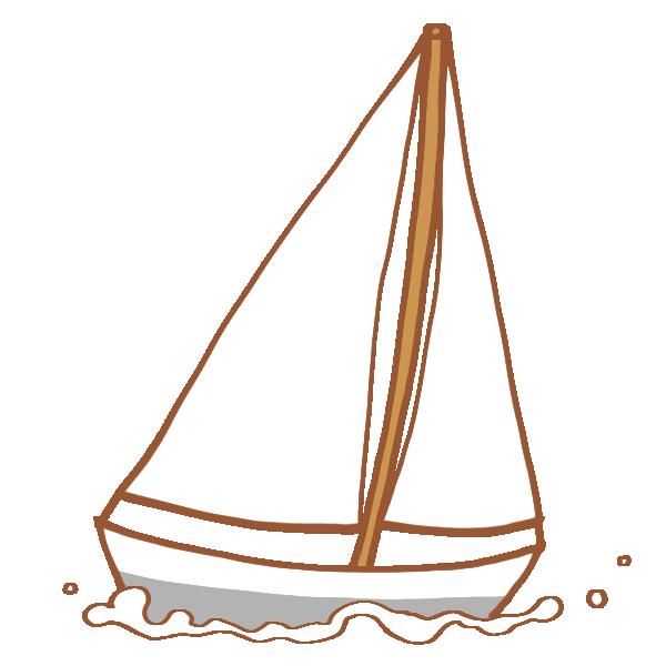 真っ白なヨットのイラスト