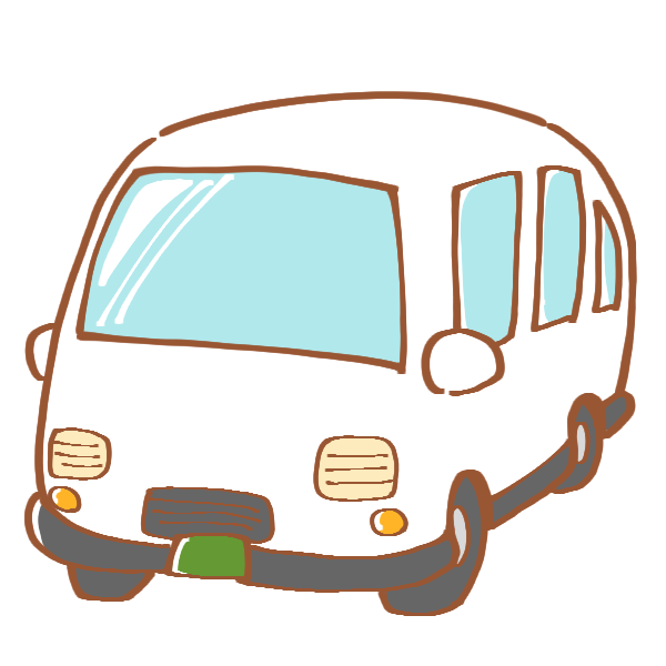 白いワゴン車のイラスト