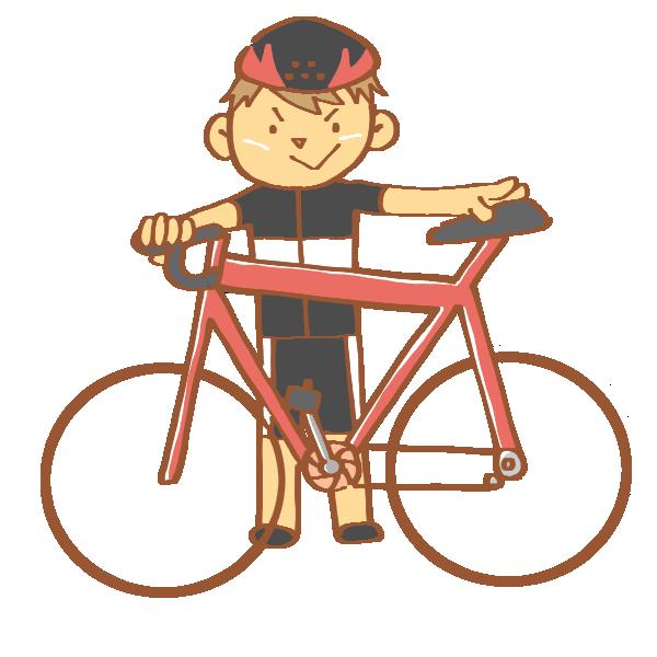 赤いロードバイクと男性のイラスト