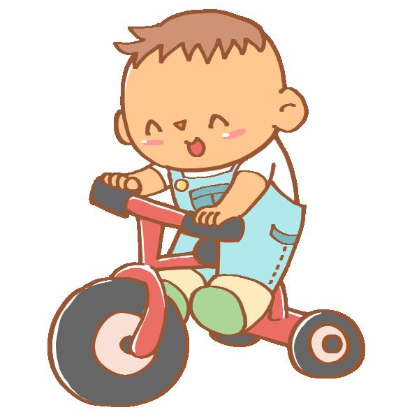 三輪車に乗る男の子のイラスト