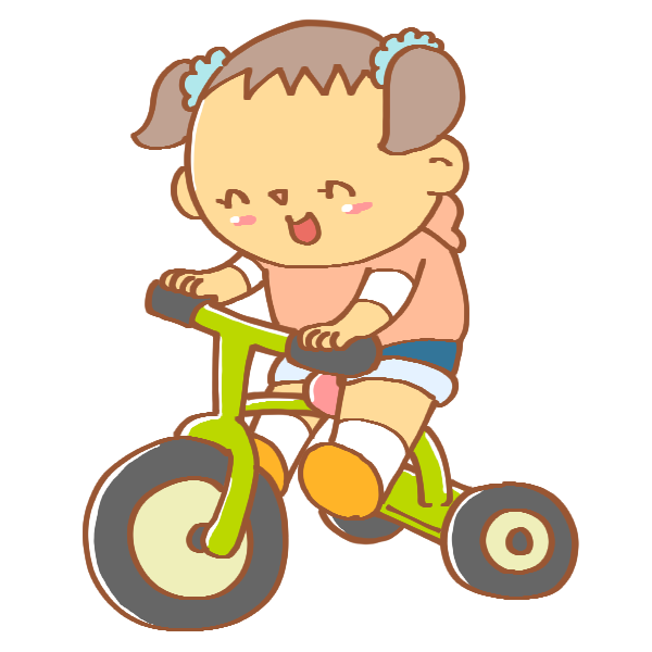三輪車に乗る女の子のイラスト