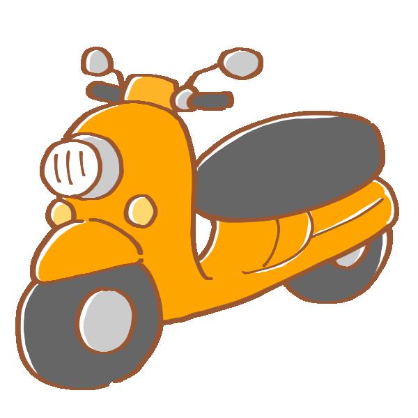 オレンジ色のスクーターのイラスト