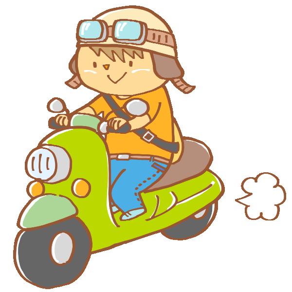 スクーターに乗る男性のイラスト