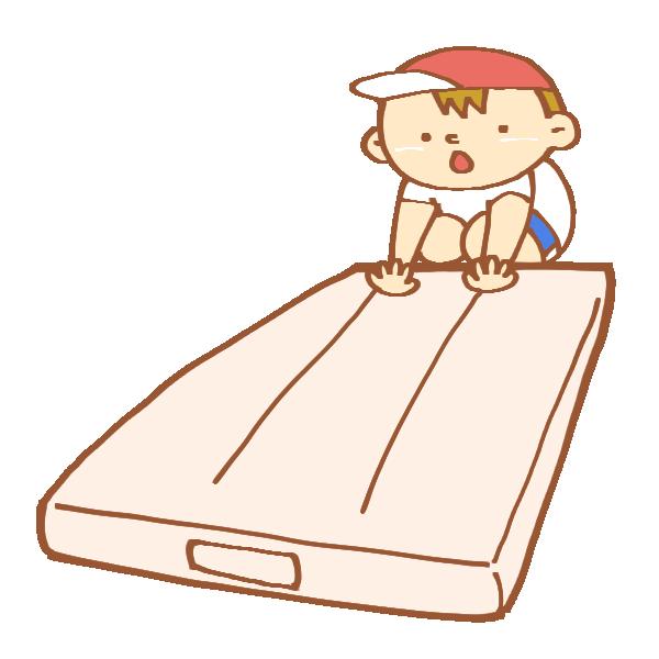 マット運動をする男の子のイラスト
