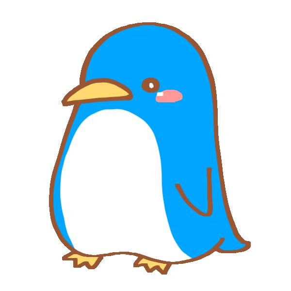 水色のペンギンのイラスト