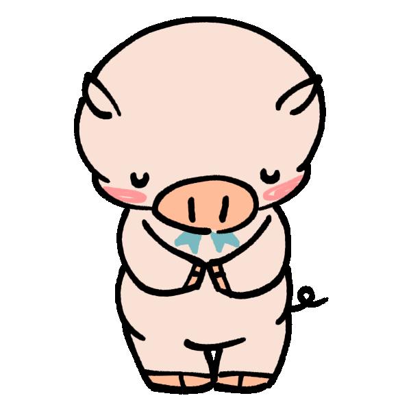 お辞儀をする豚のイラスト