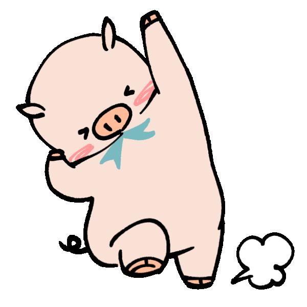 大喜びする豚のイラスト