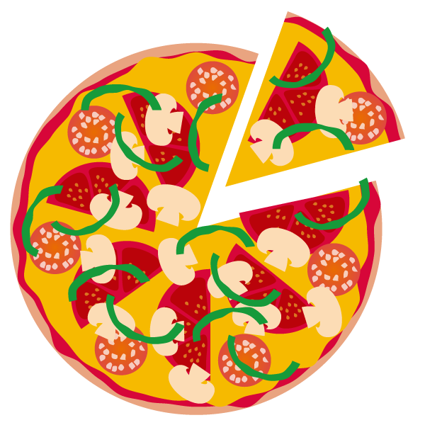 トマトとサラミのミックスピザのイラスト