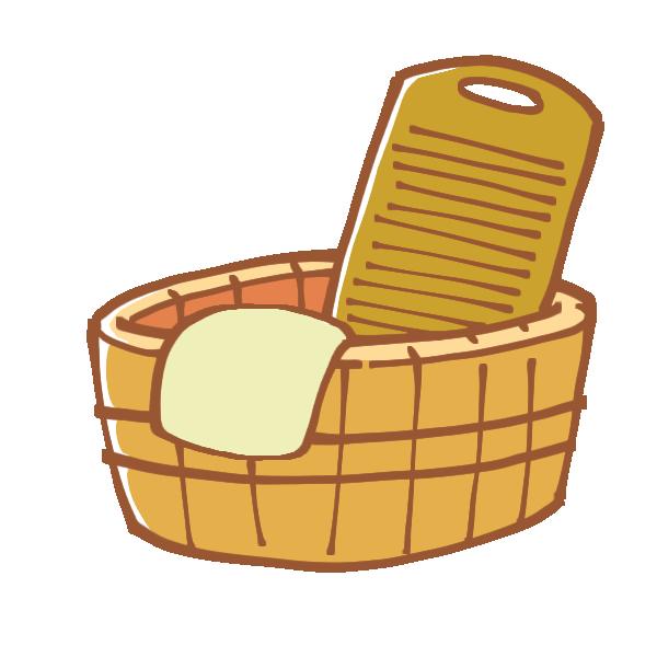 洗い桶と洗濯板のイラスト