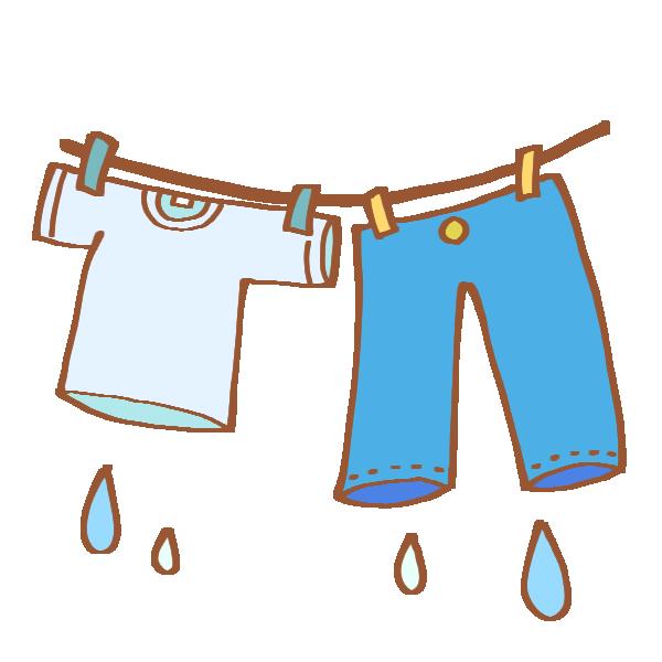 まだ濡れている洗濯物のイラスト
