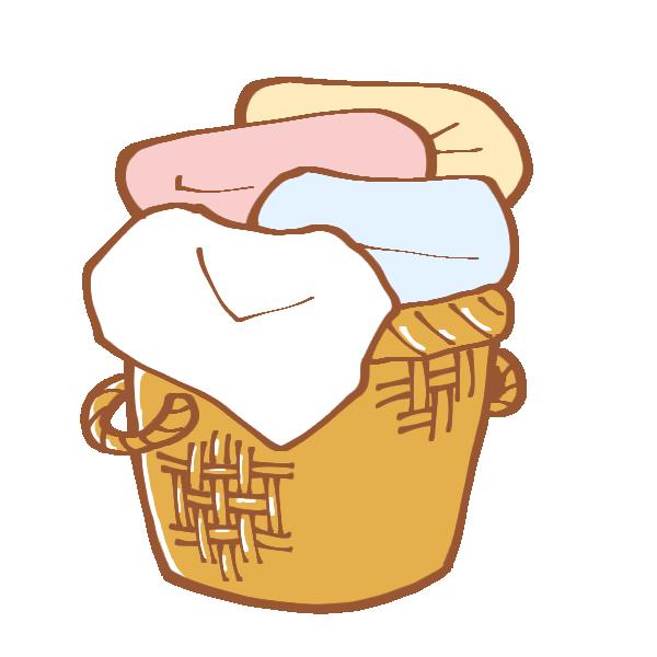 洗濯物が入った洗濯かごのイラスト