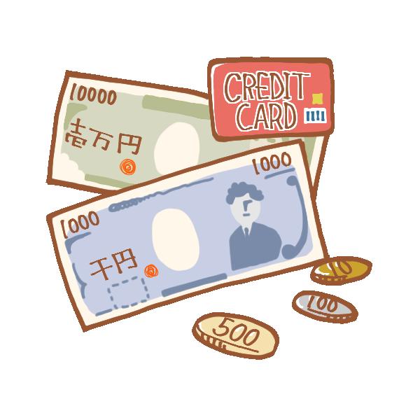 お金とクレジットカードのイラスト