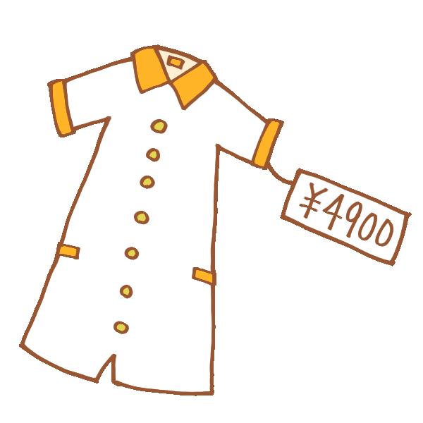 値札のついた服のイラスト