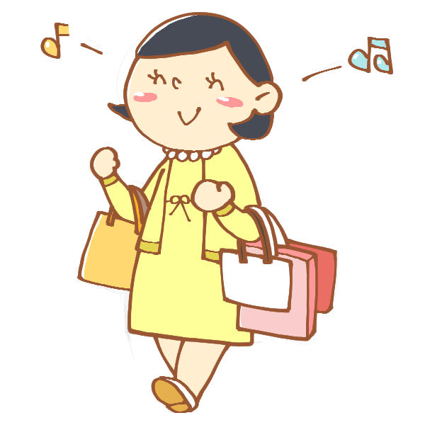 たくさん買い物をした女性のイラスト