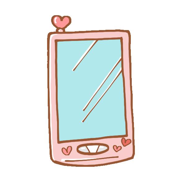 可愛いピンク色のスマートフォンのイラスト