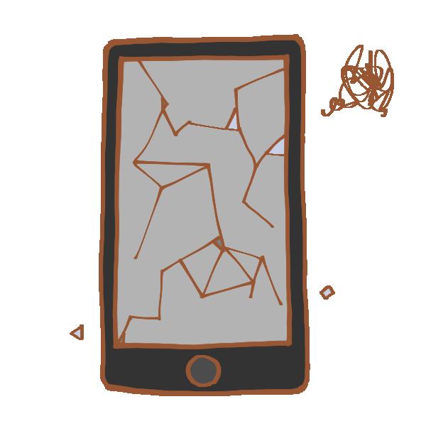 壊れたスマートフォンのイラスト