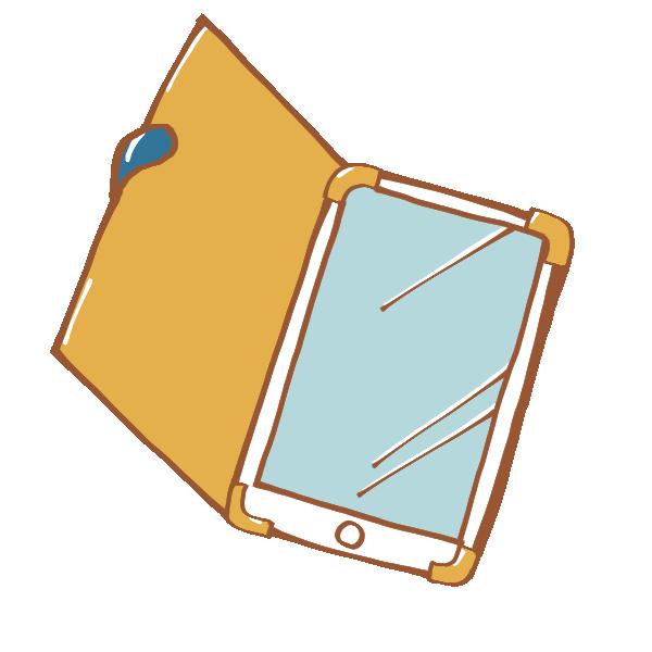 見開き型ケースに入ったスマートフォンのイラスト