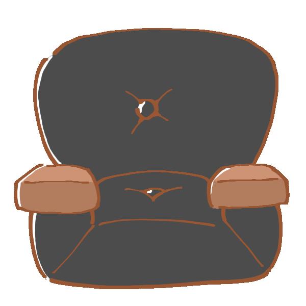 一人がけの黒いソファのイラスト