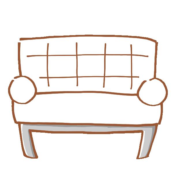 白いソファのイラスト