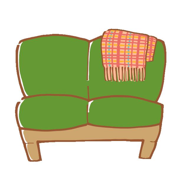 緑のソファのイラスト
