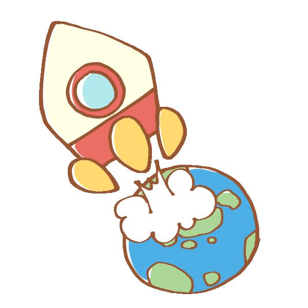 地球から飛び立つロケットのイラスト